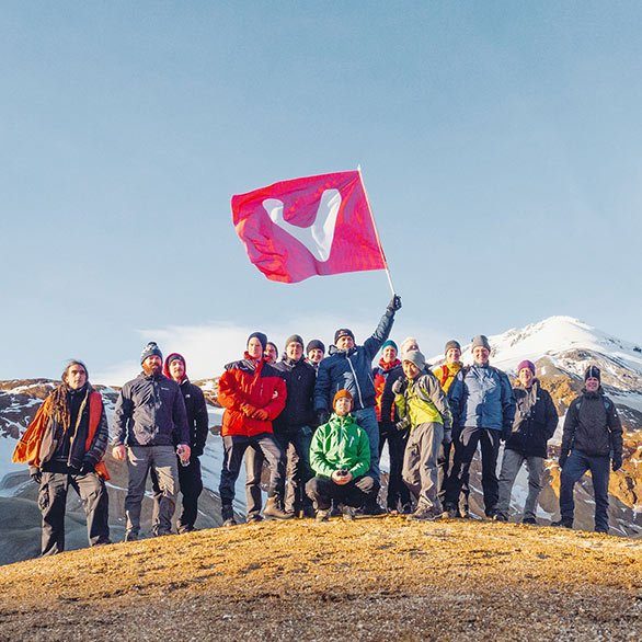 Vivaldi team members at the top of a mountain in Iceland
