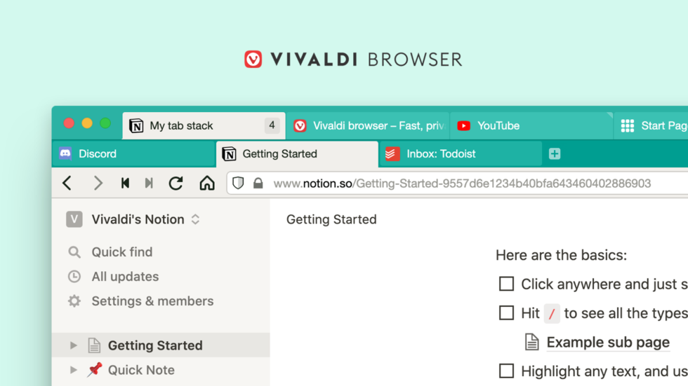 Two-line tab stacks in Vivaldi browser.