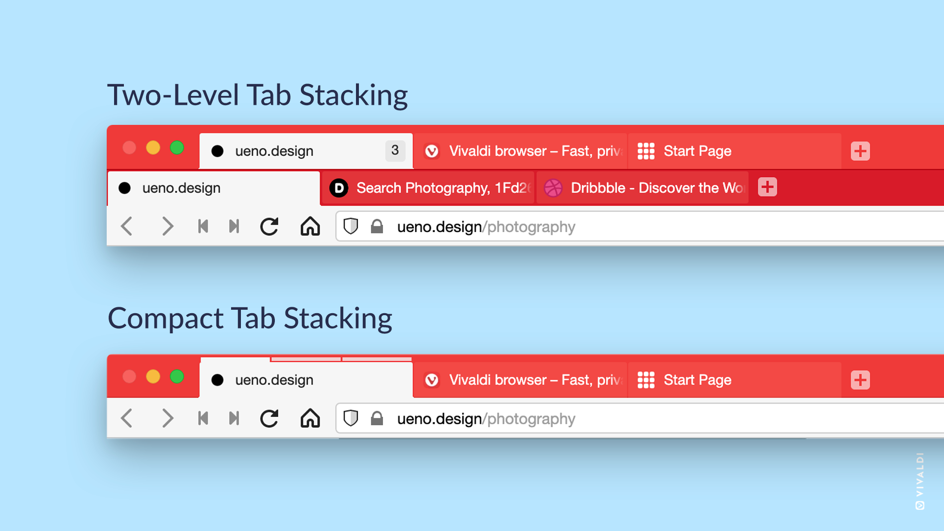 Two-Level and Compact tab stacks in Vivaldi browser.
