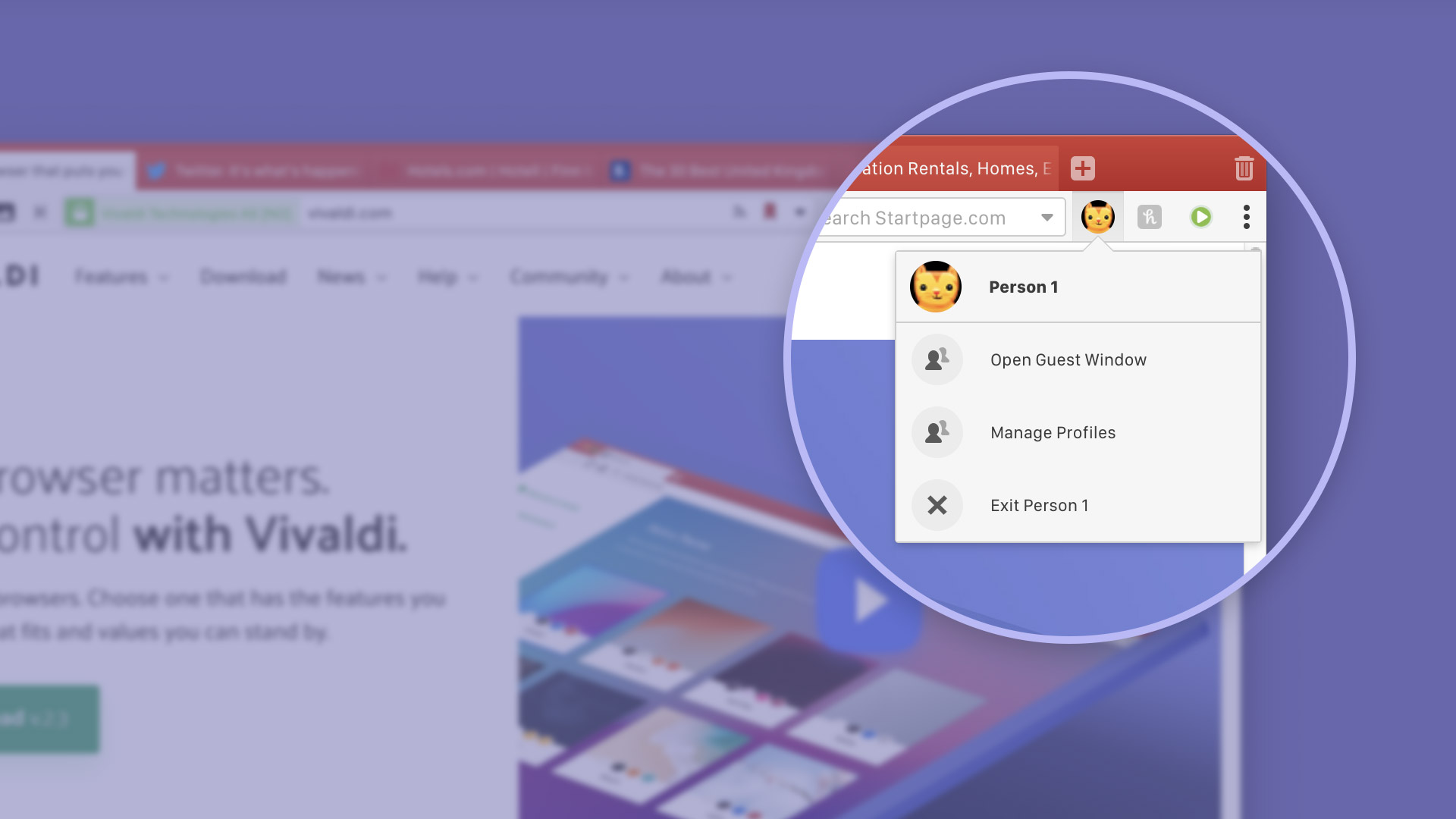 Managing multiple user profiles in Vivaldi browser