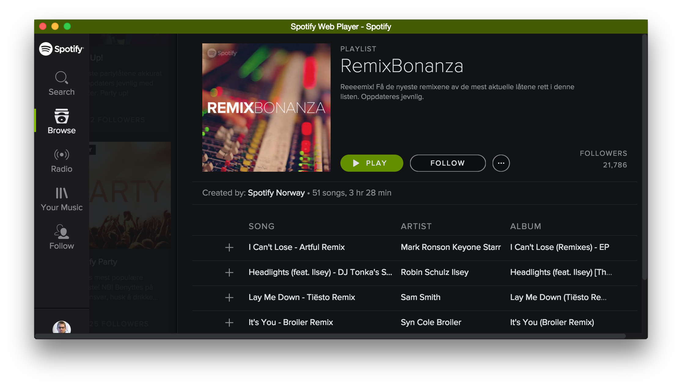 Spotify in Vivaldi with Chromeless UI