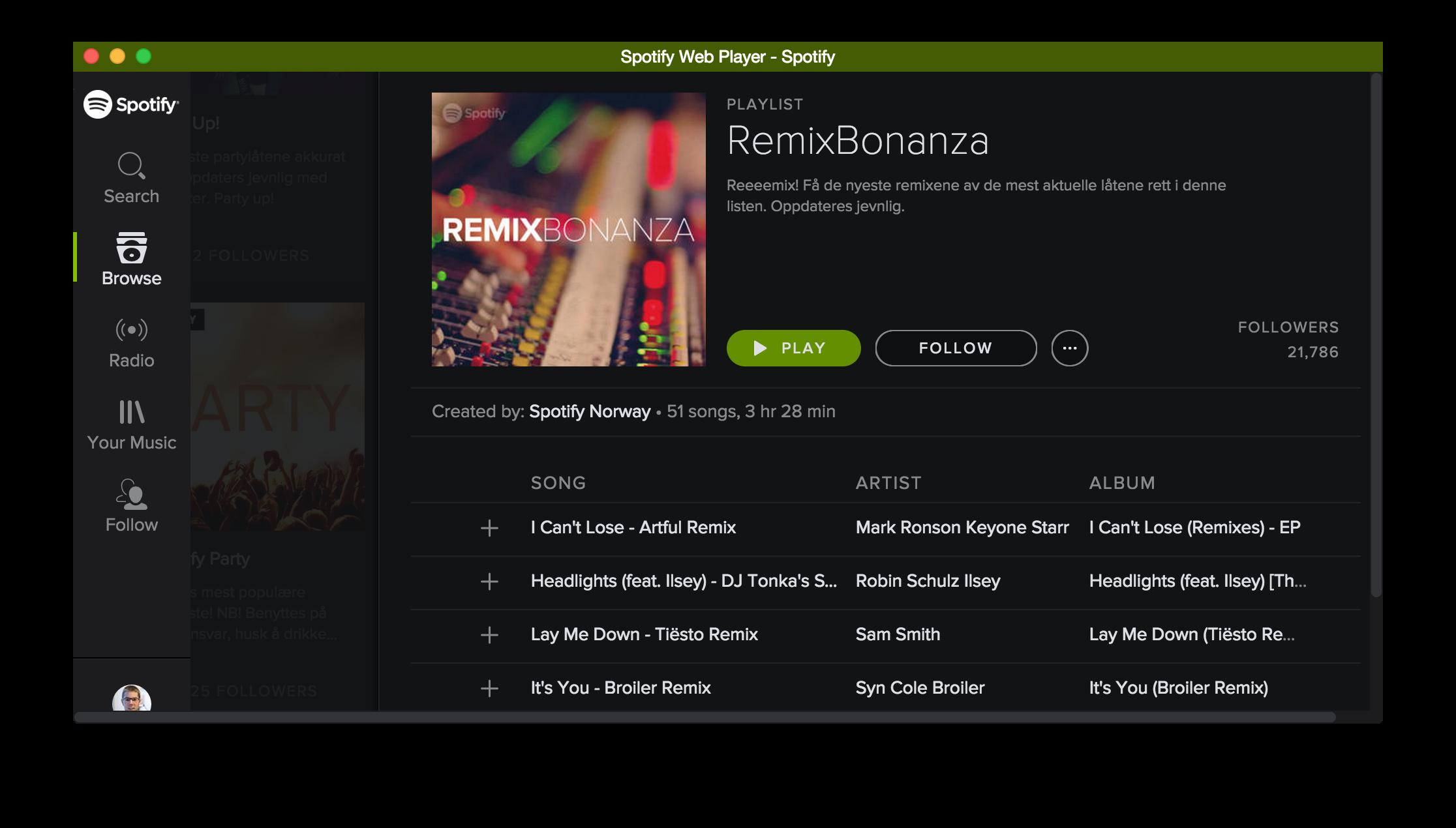 Spotify in Vivaldi with Chromeless UI