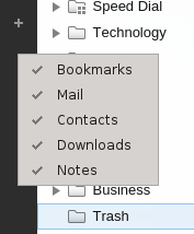 Hide panels context menu