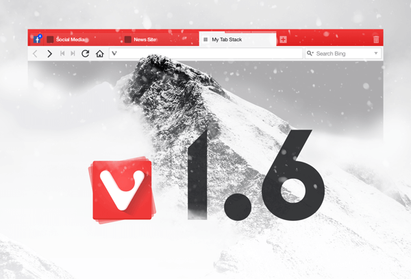 Details matter. The Vivaldi Browser 1.6 is ready banner