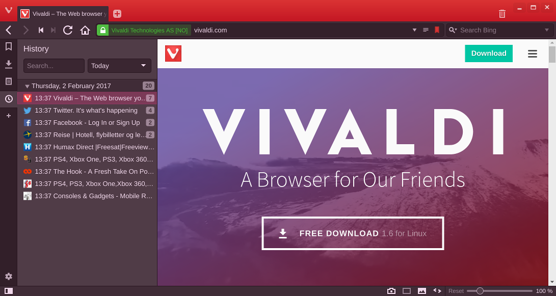 History Panel in Vivaldi Browser