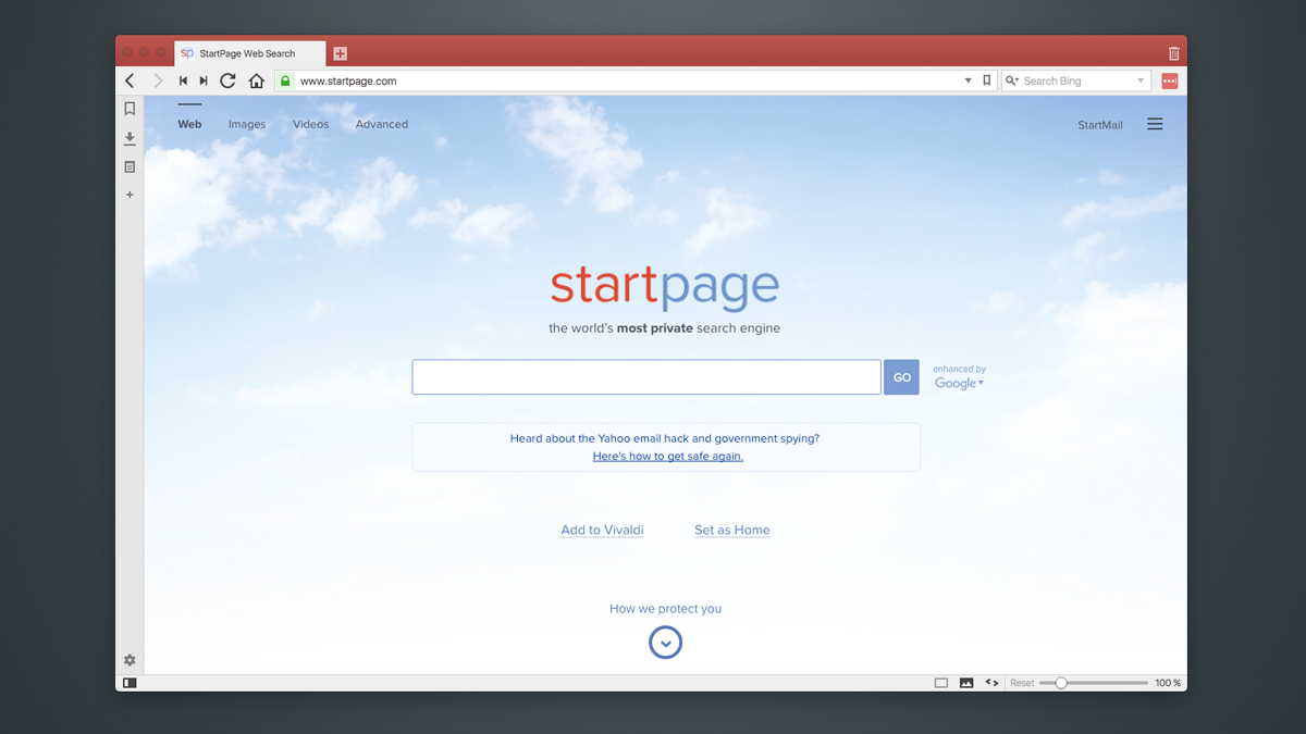 Add startpage as default search engine in Vivaldi Browser