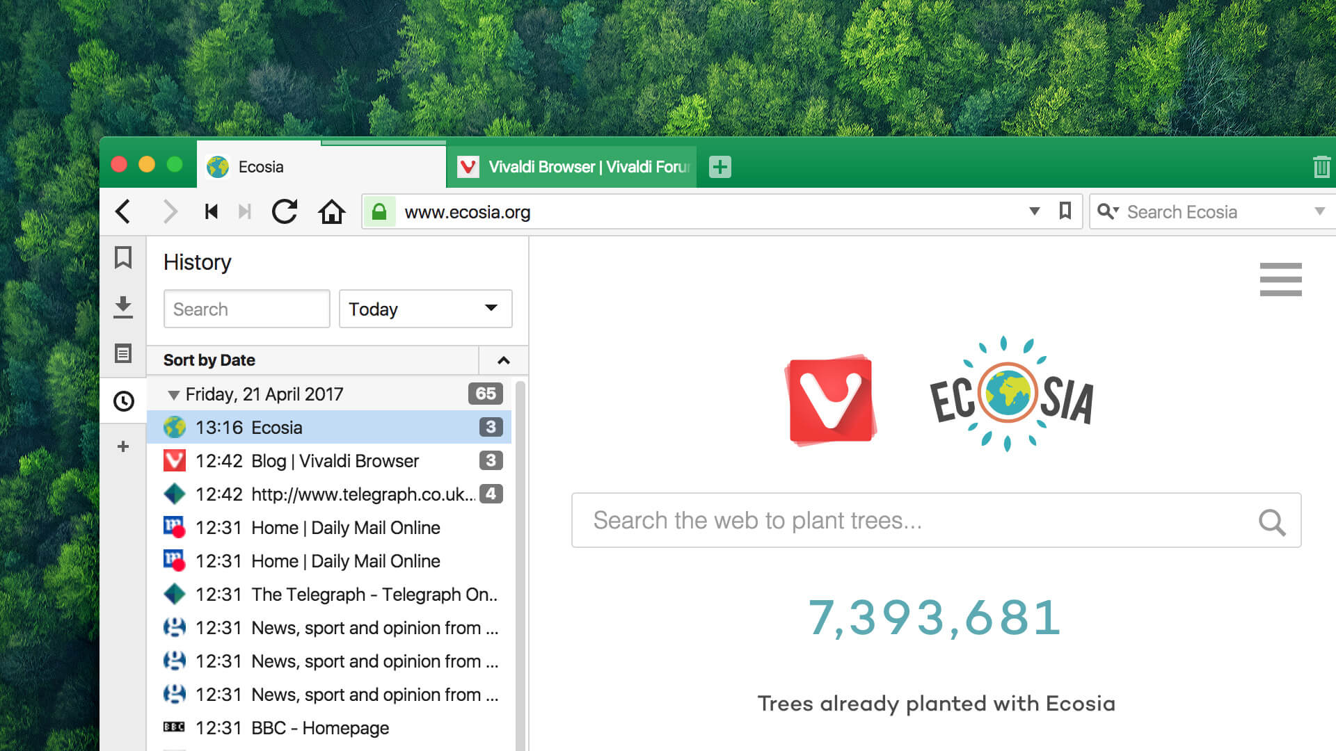 Ecosia in the Vivaldi Browser