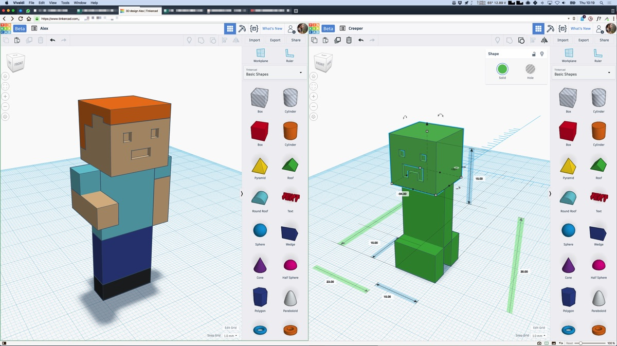 3D modelling in Tinkercad and Vivaldi