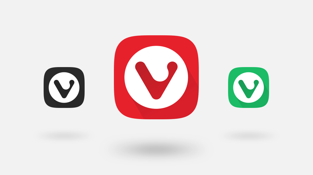 Black, red and green icons of the Vivaldi browser
