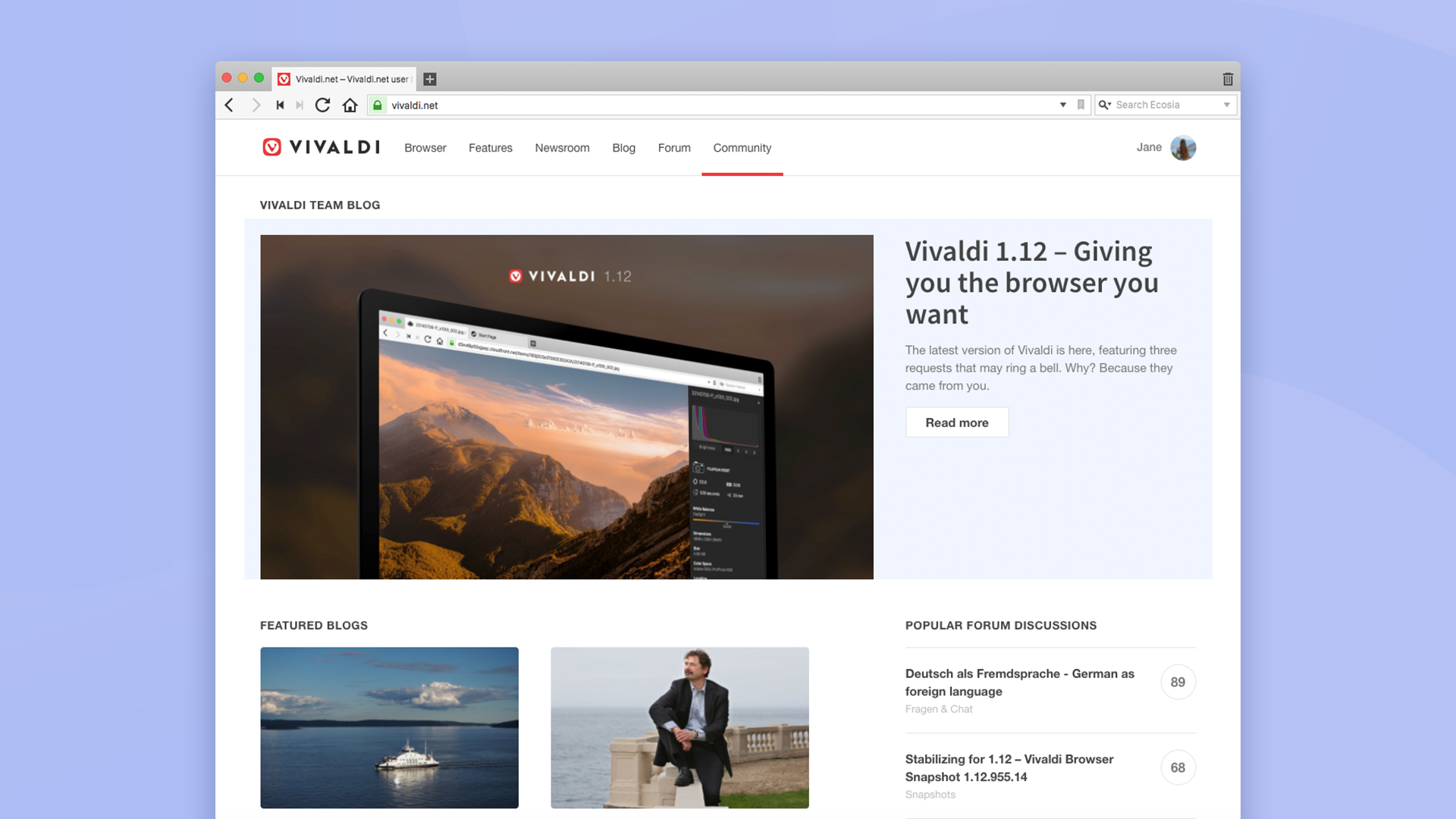 New Homepage for Vivaldi's community