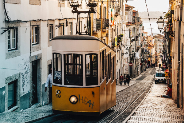 A tram in Lisbon.