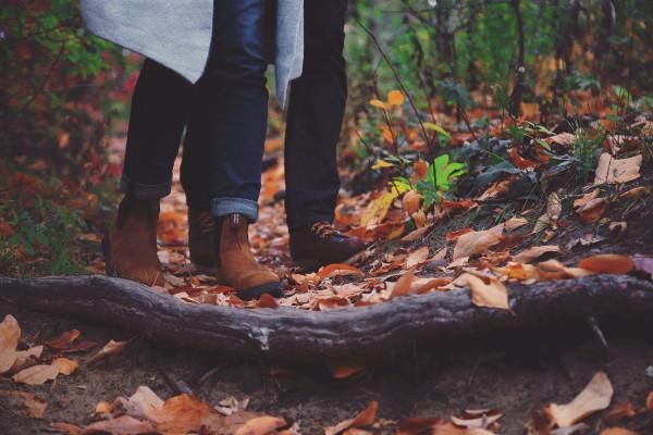 People walking in autumn.