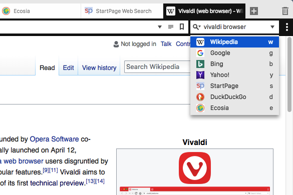 Wikipedia search in the Vivaldi browser