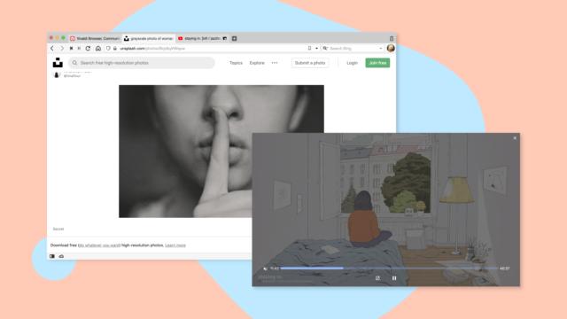 Pop-out video mute/unmute button in Vivaldi browser.