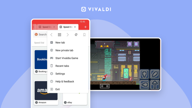 Vivaldi on Android with Vivaldia game and Speed Dials.