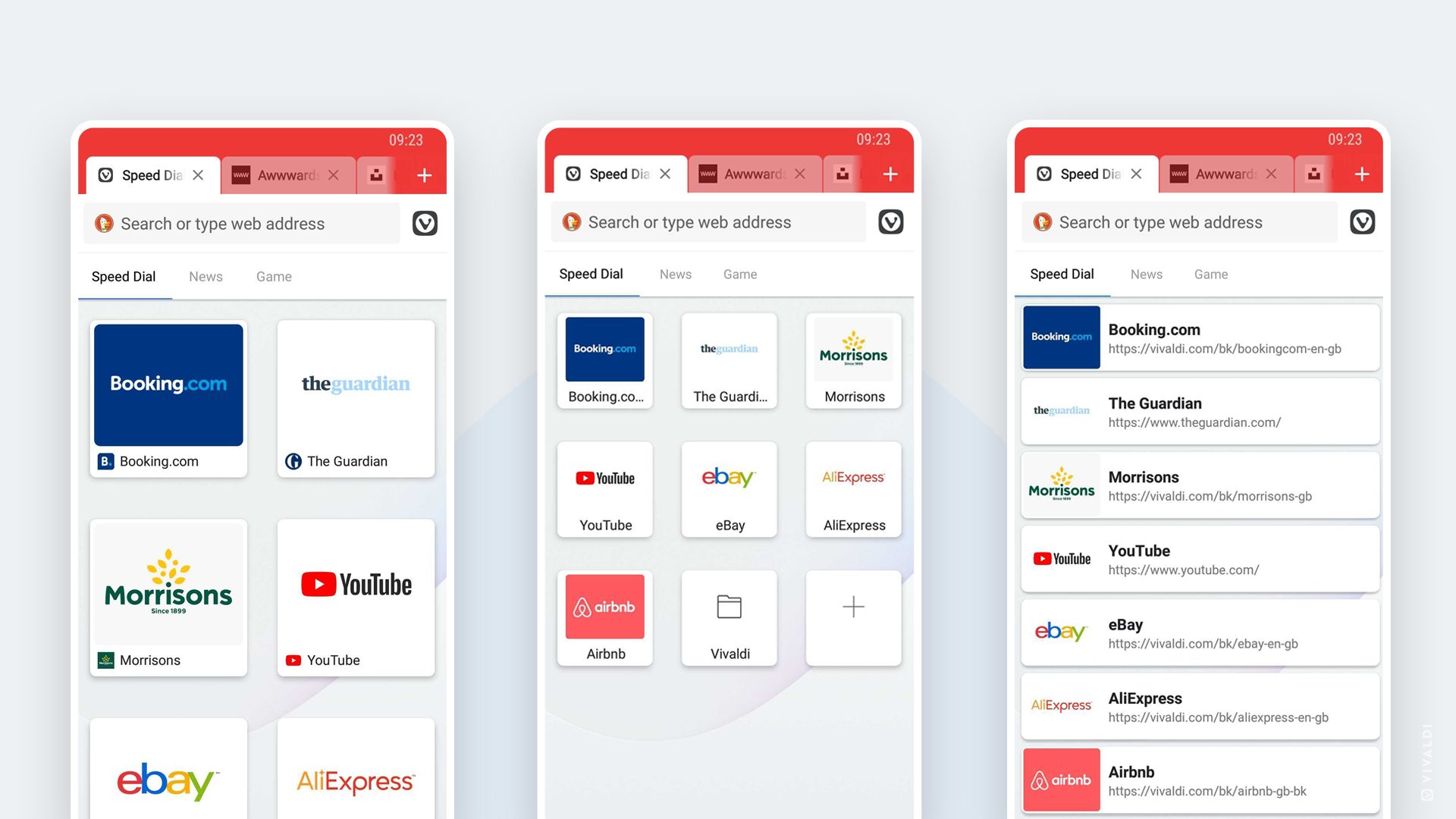 Vivaldi on Android 3.4 new speed dial layouts.