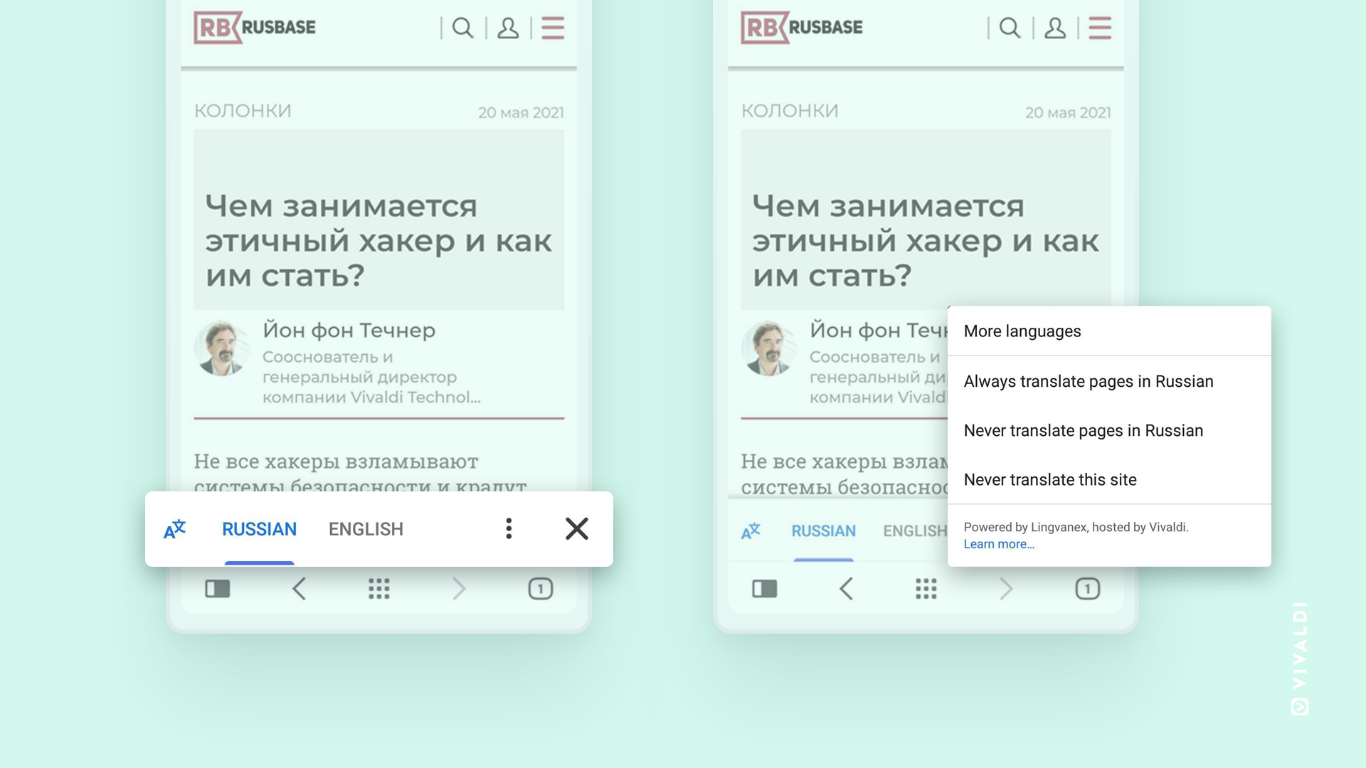 Showing Vivaldi Translate in action in Vivaldi for Android.