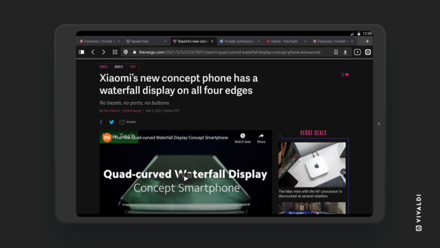 Best Android tablet browser Vivaldi with dark theme.
