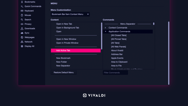 Configurable context menu Vivaldi browser.