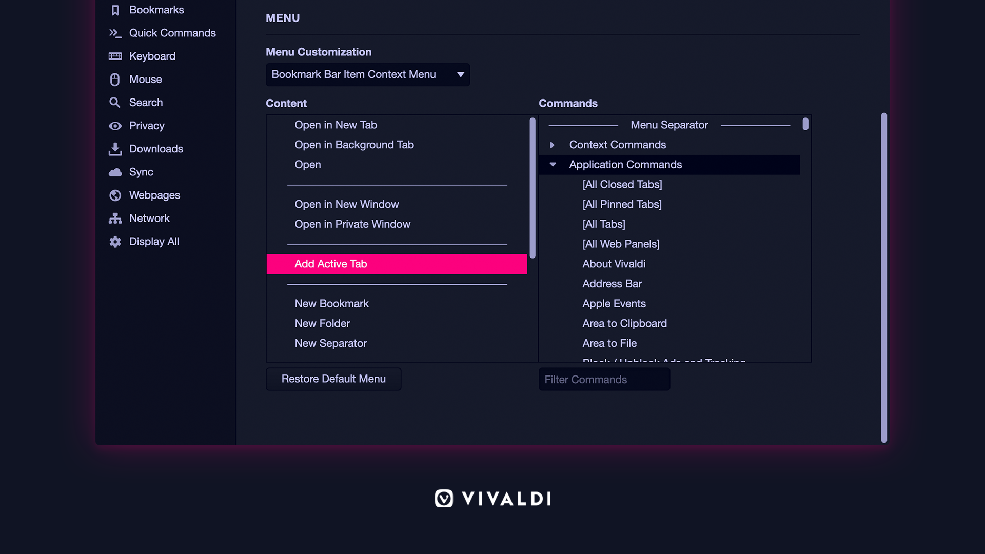 Configurable context menu Vivaldi browser.