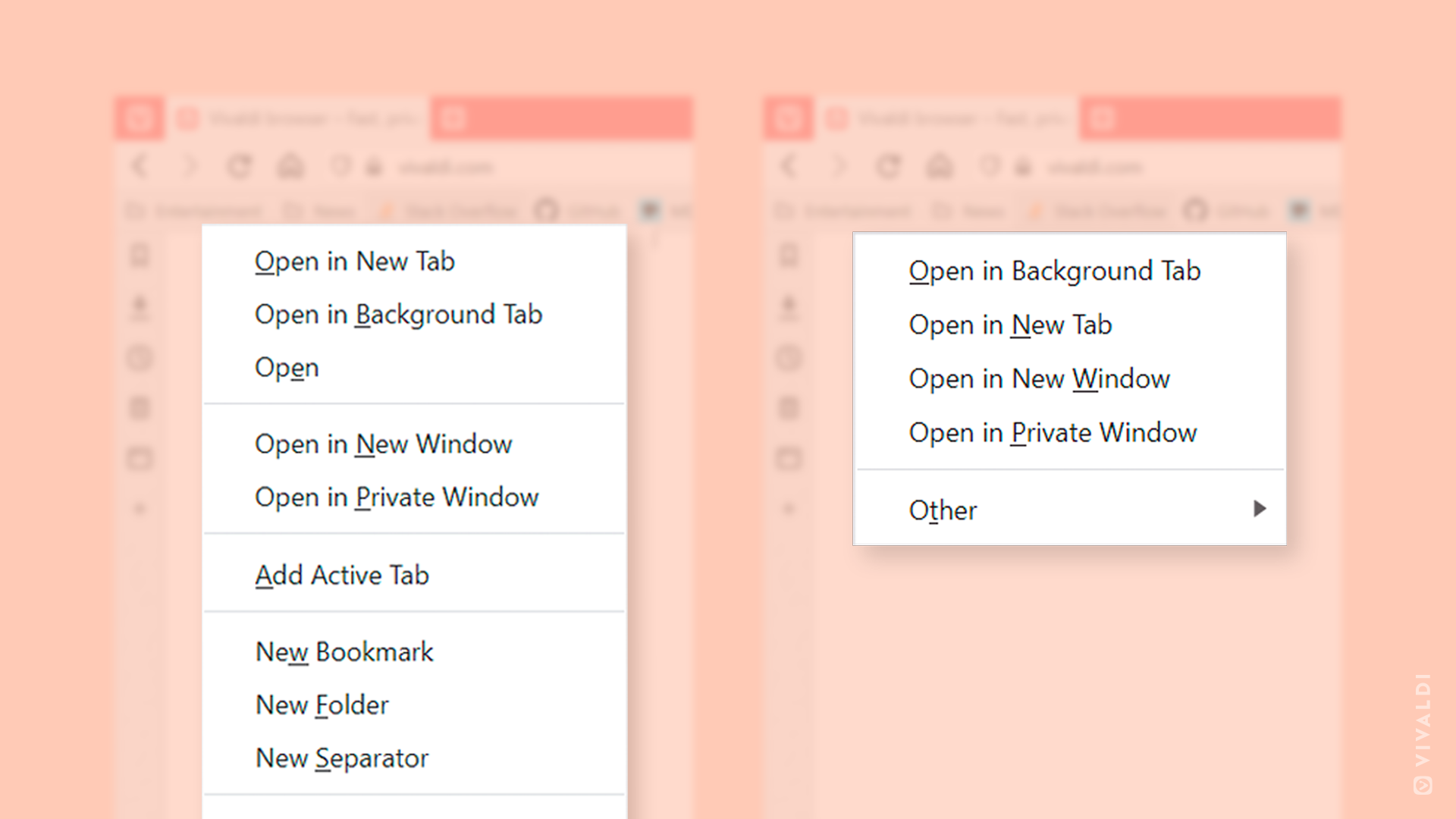 Before and after: the View context menu has been decluttered.