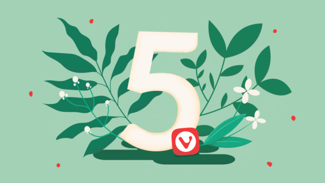 Number five surrounded by plants and flowers
