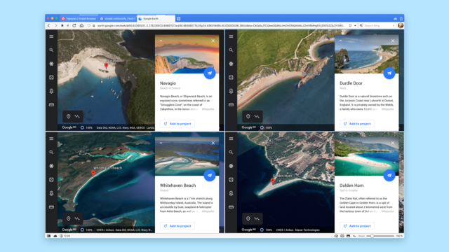 Google Earth shows how to use split screen with locations of iconic beaches.