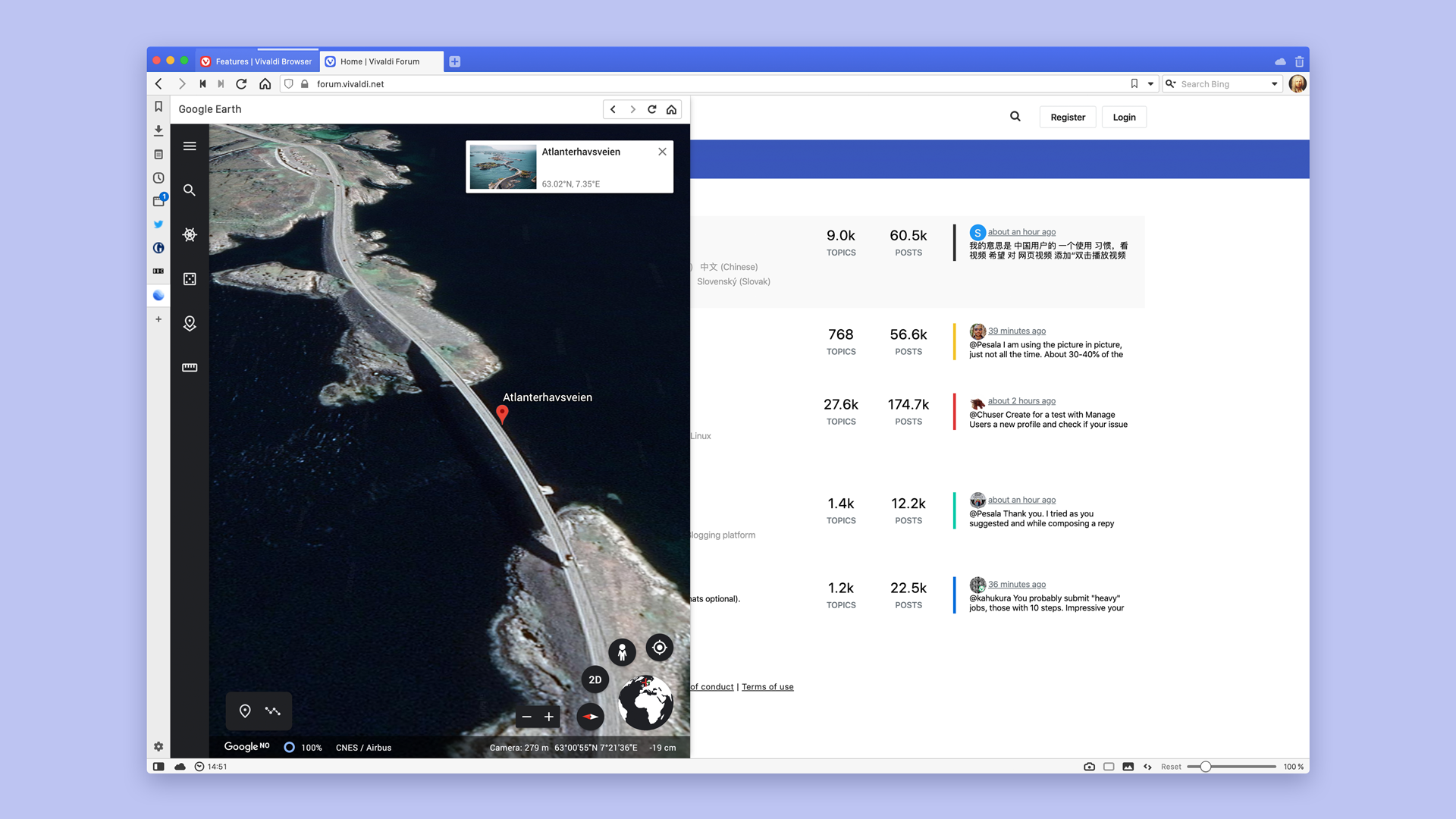 Google Earth shows how to use Web Panel with Atlanterhavsveien in Norway.