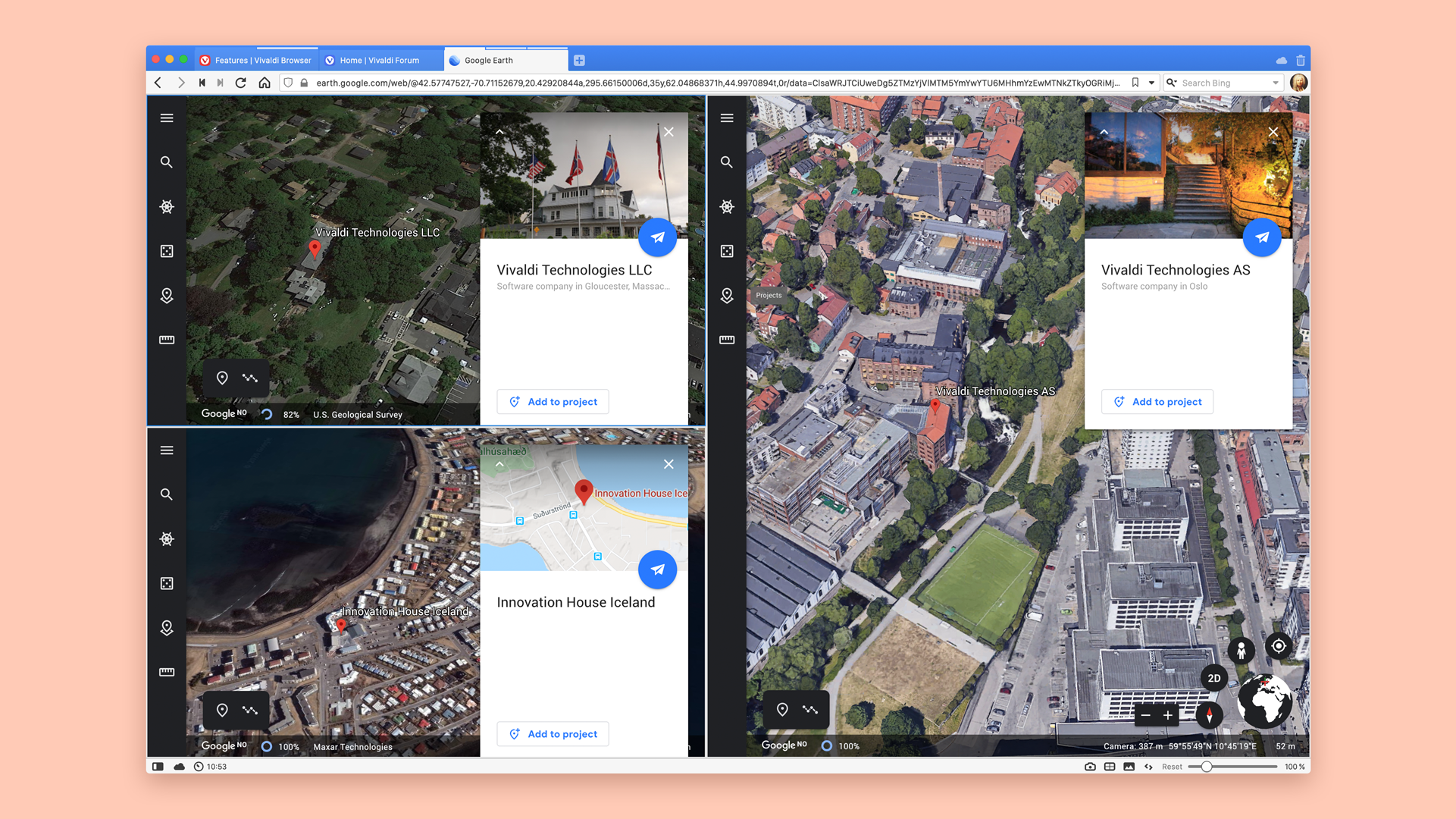 Google Earth shows how to use split screen with locations of Vivaldi offices.