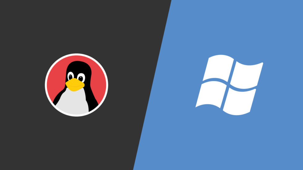 Linux logo next to Windows logo