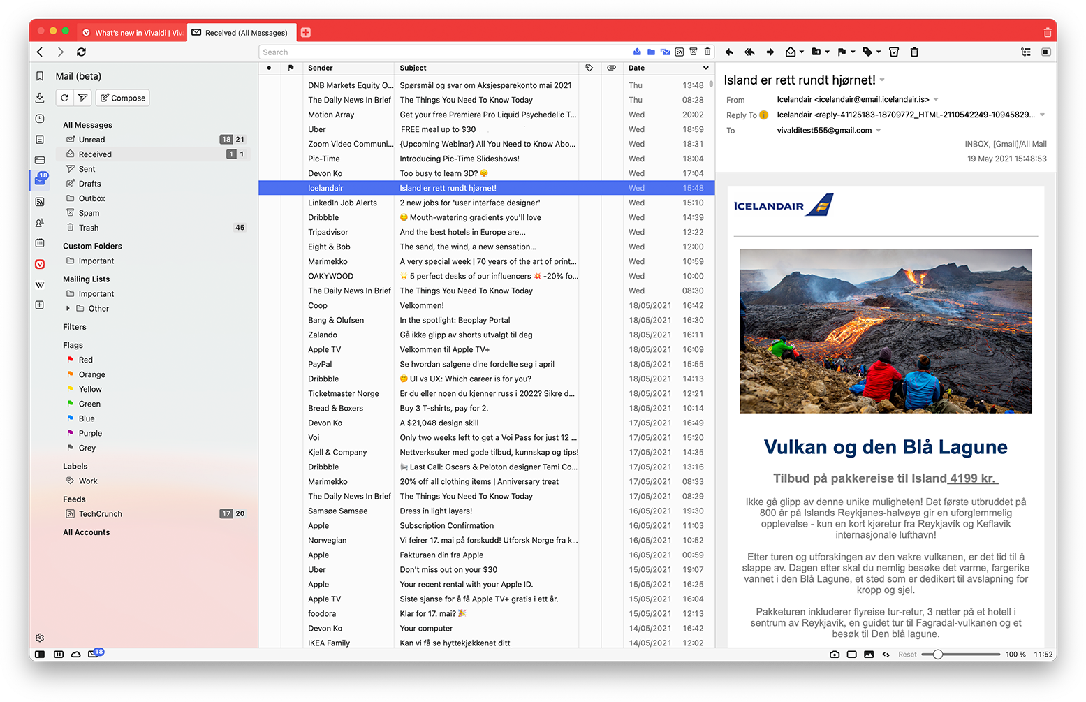 Vivaldi Mail shown using the ultra-wide vertical layout while the Mail Panel is active.