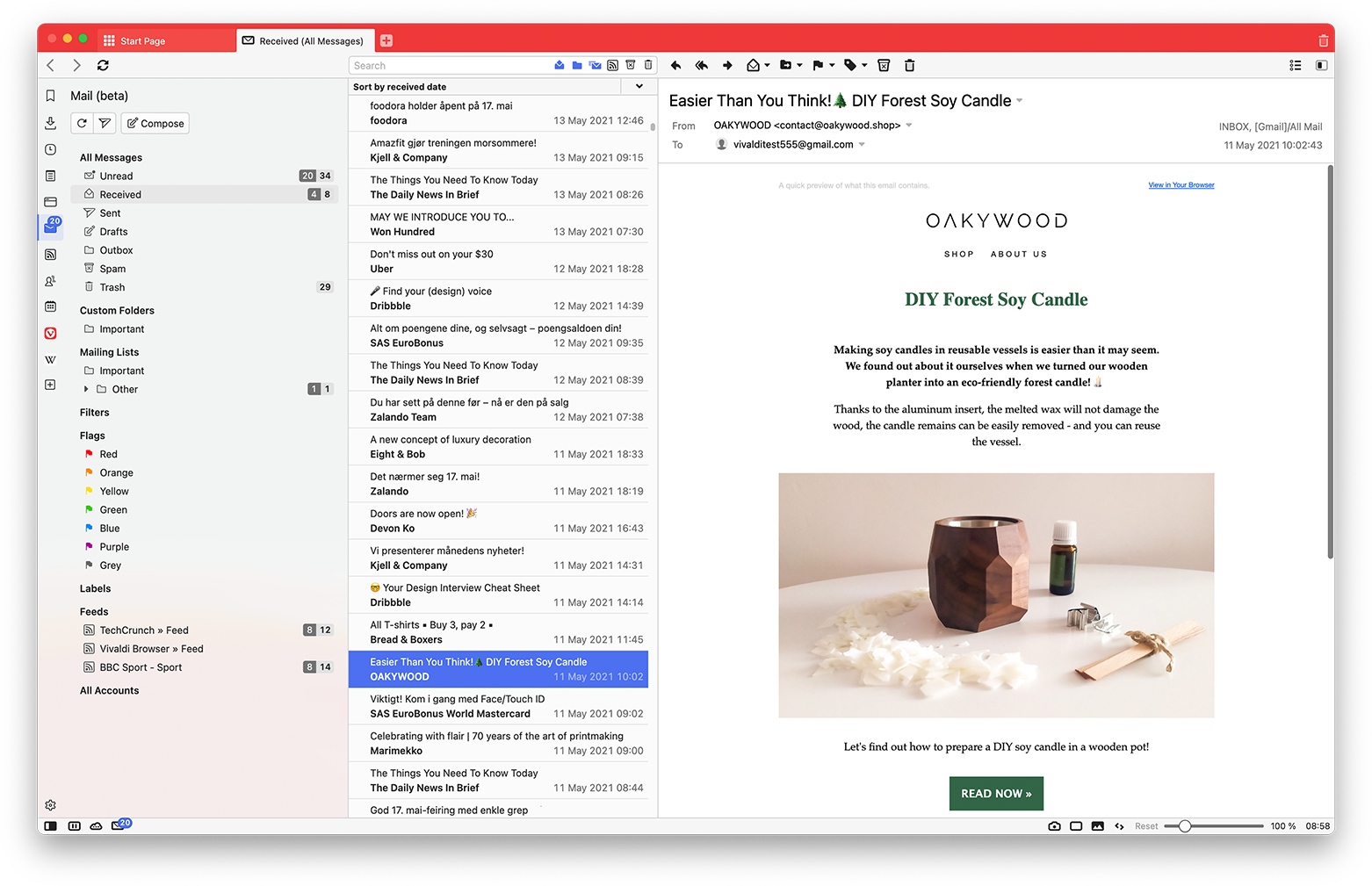 Vivaldi Mail, a full email client built into Vivaldi Browser, showing the default three-panel view when viewing the Mail Panel.