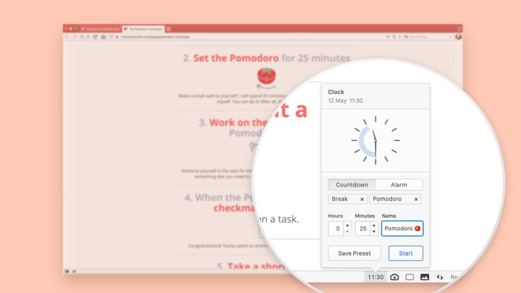 Интерфейс таймера помодоро в браузере Vivaldi