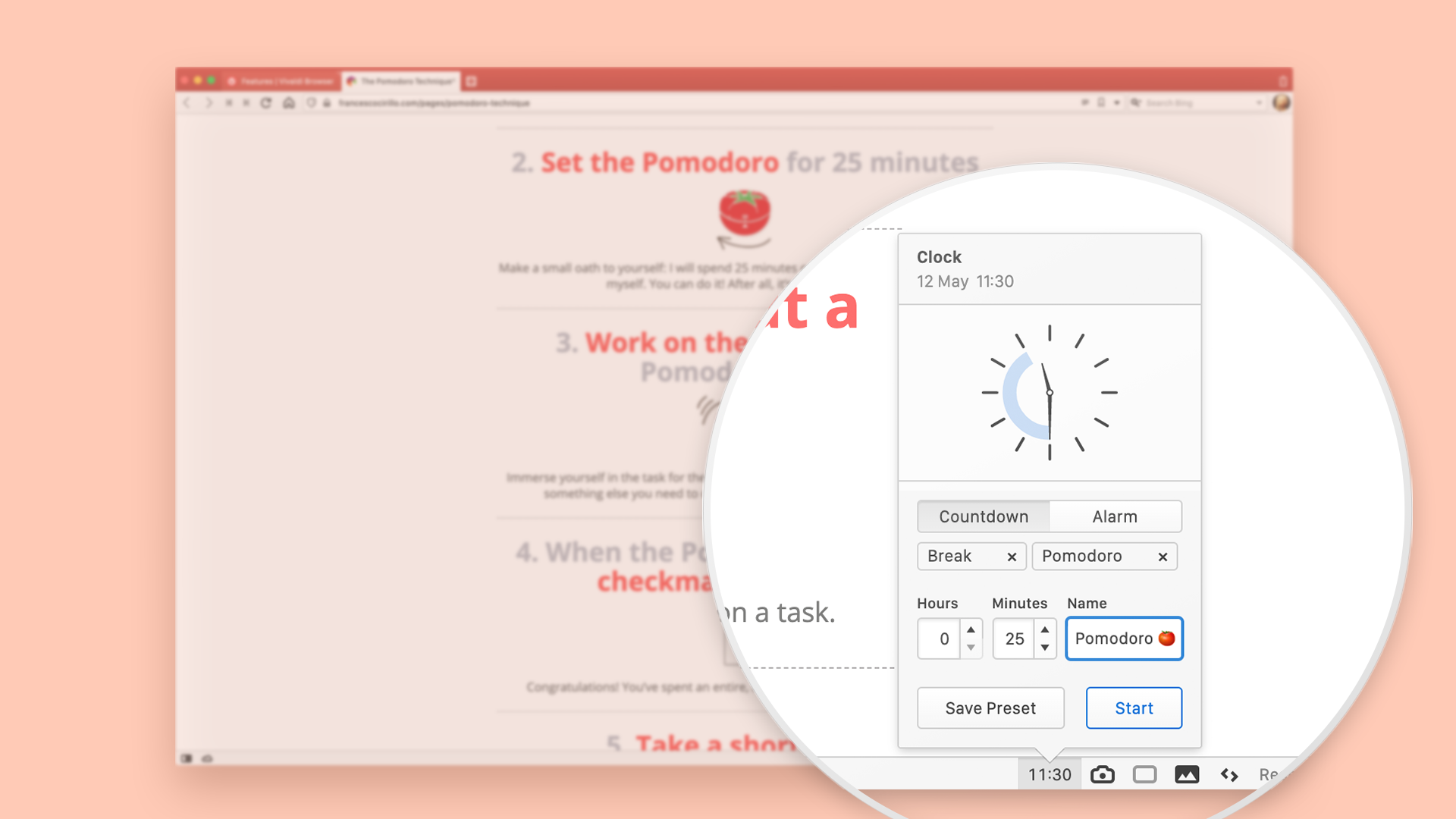 The Pomodoro timer menu in Vivaldi browser.