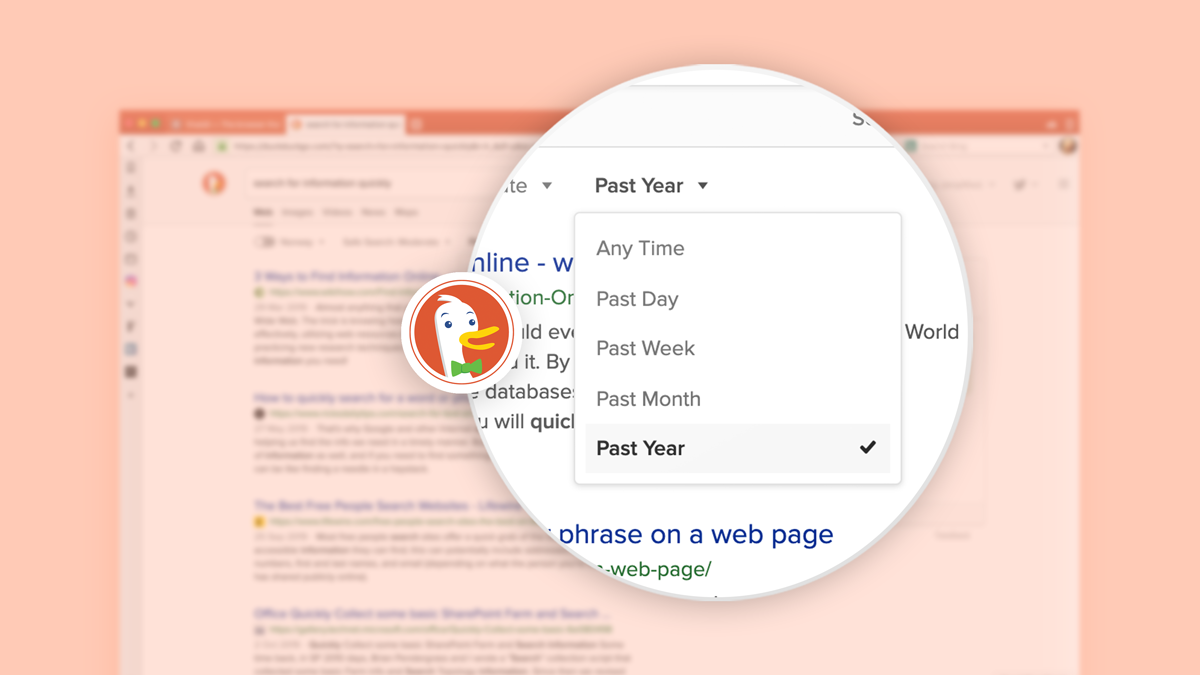 Search for information on the web quickly with DuckDuckGo.