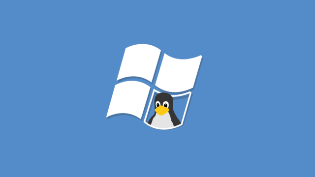 Linux penguin peers out of Windows inviting users to replace Windows with Linux