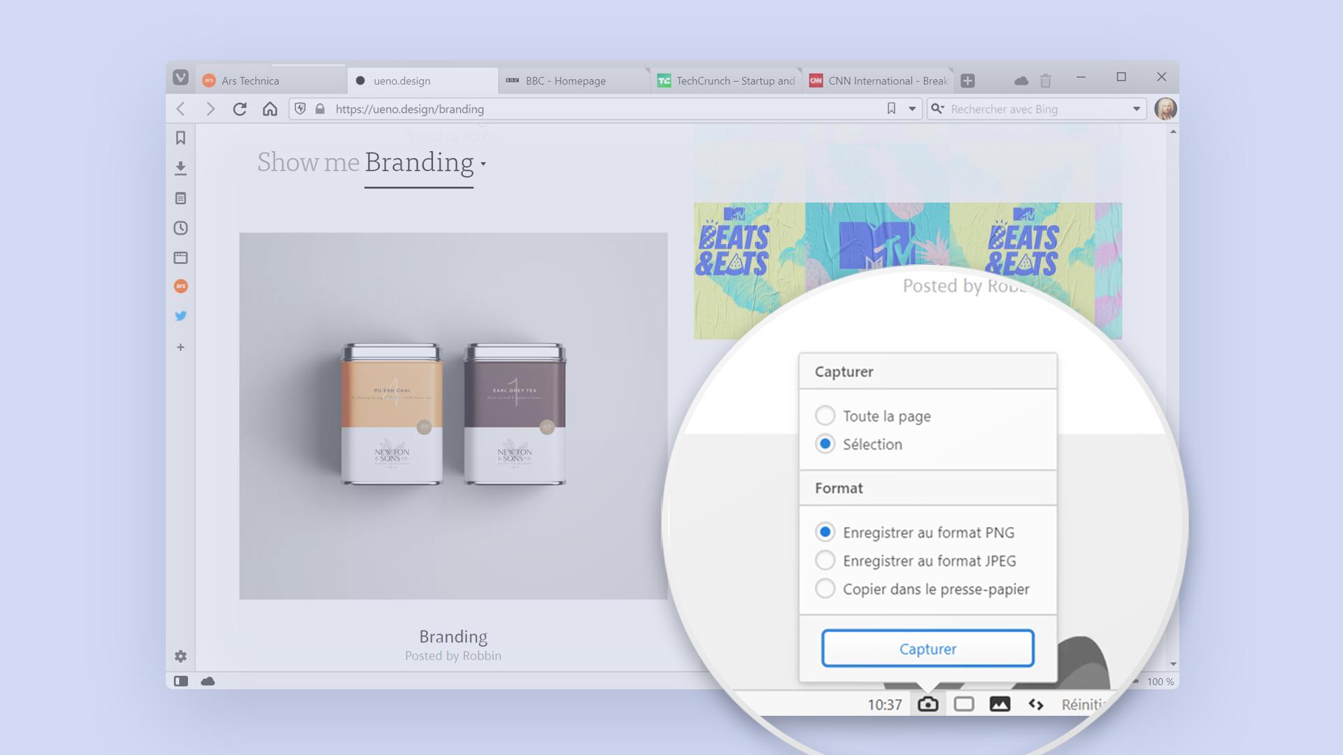 Illustration montrant comment prendre une capture d'écran avec le navigateur Vivaldi