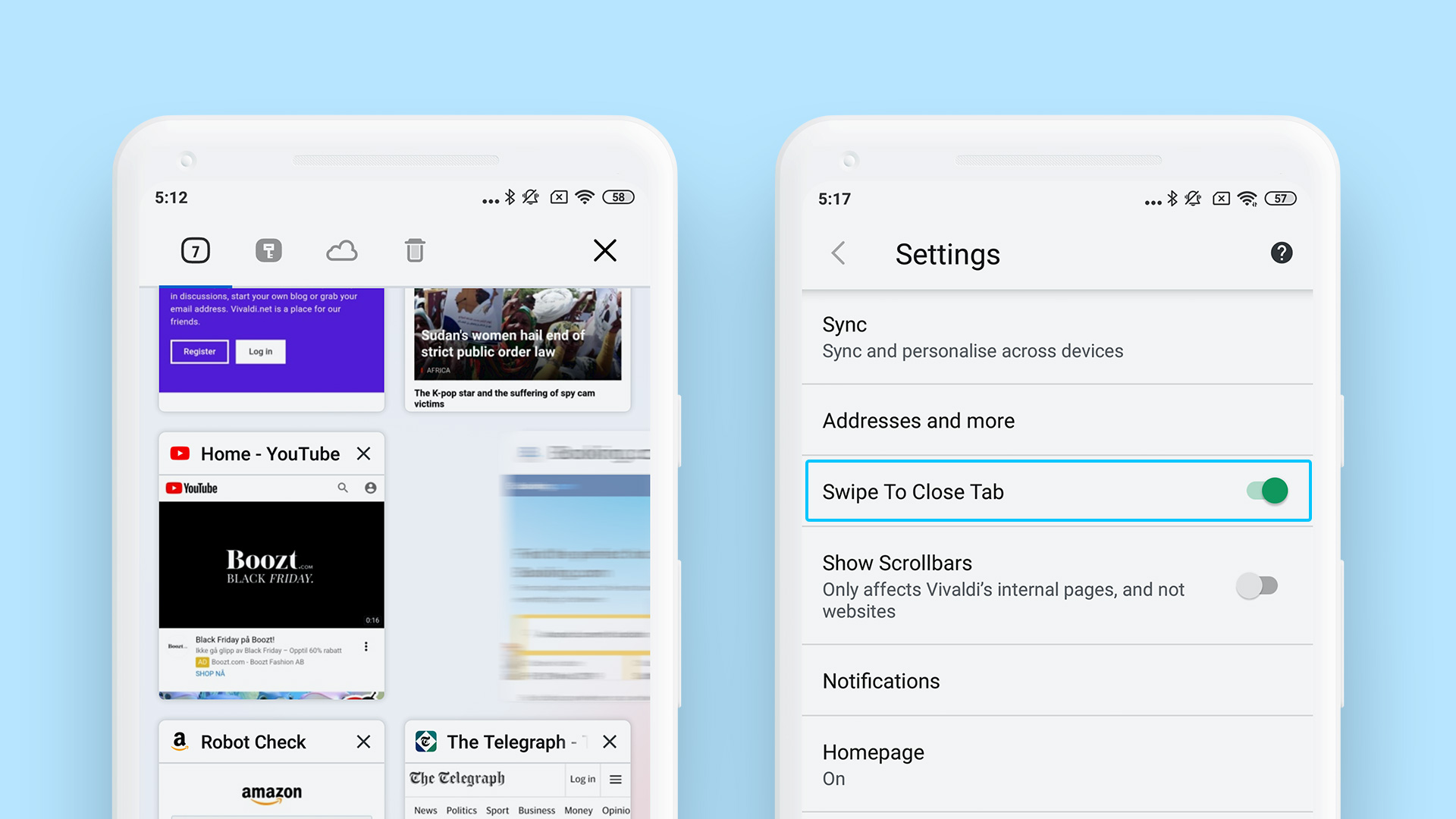 Swipe to close tabs on Vivaldi for Android