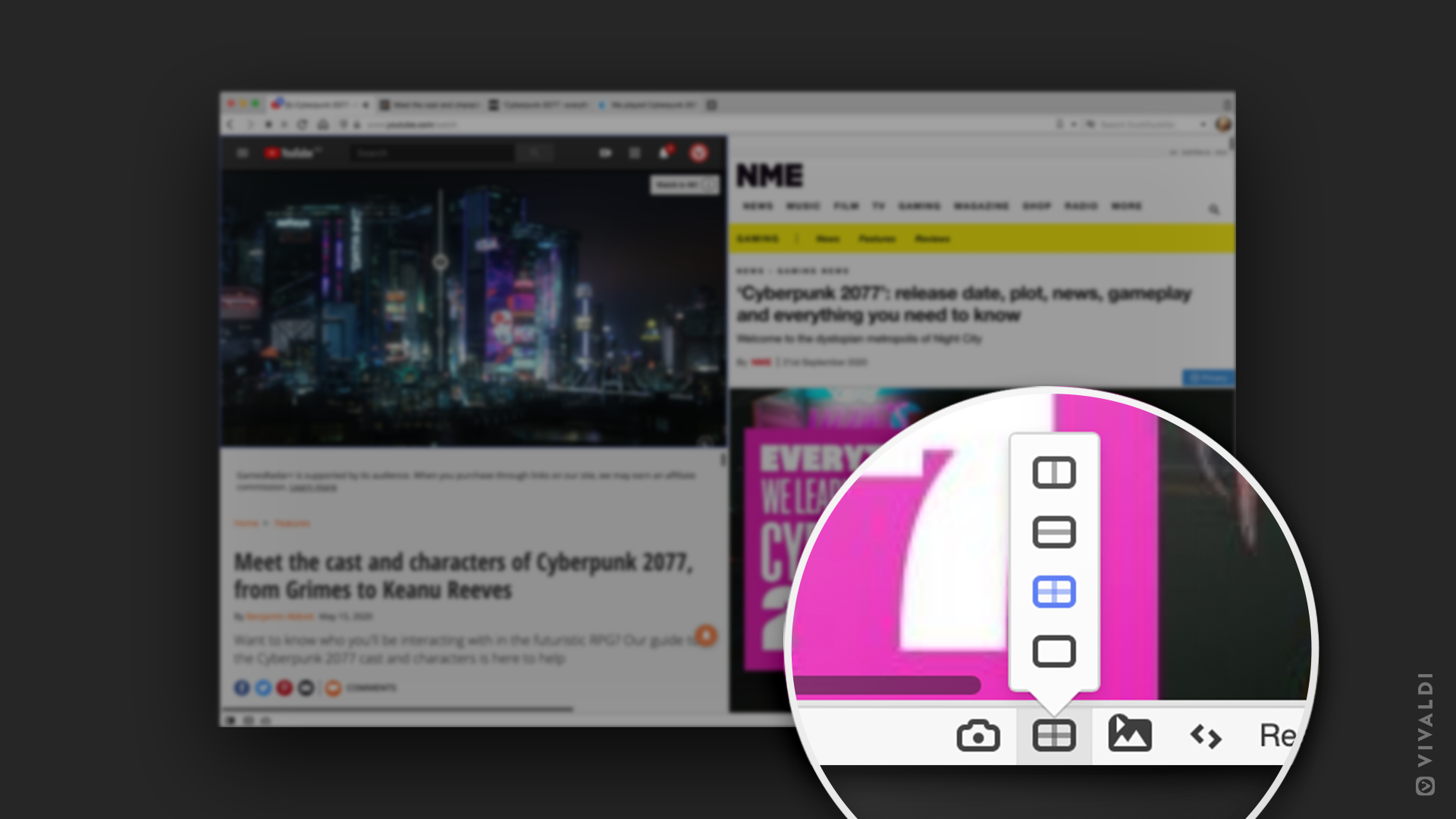 The button for viewing multiple web pages side by side without extensions.
