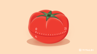 Tomato graphic represents Pomodoro timer in Vivaldi browser.