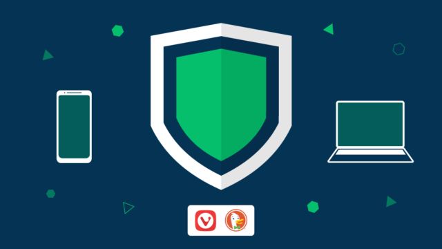 Shield represents tracker blocker, and Vivaldi and DuckDuckGo logos.
