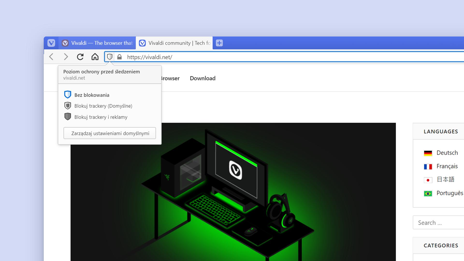 Blokuj moduły śledzące za pomocą wbudowanego blokera trackerów