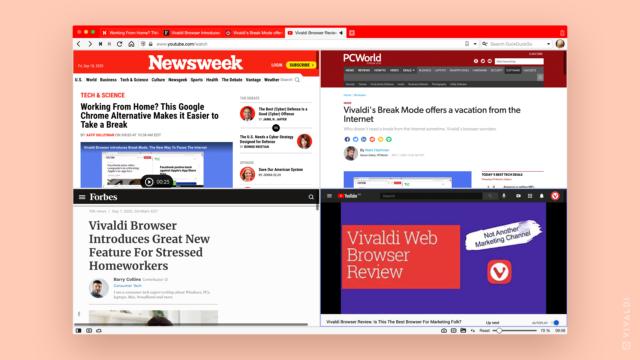 Collage of Vivaldi browser media coverage, September 2020