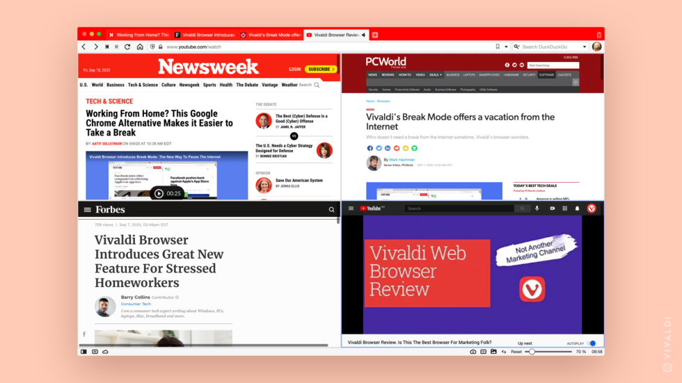 Collage of Vivaldi browser media coverage, September 2020