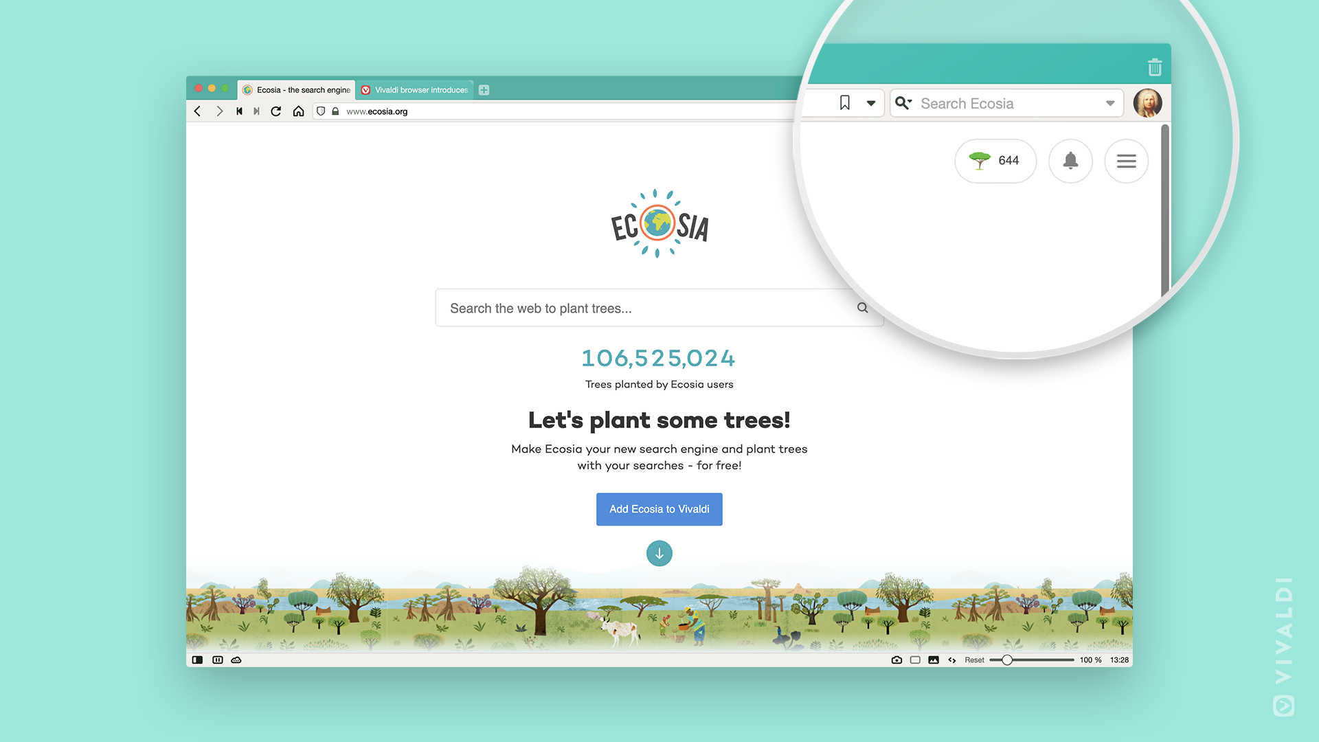 Ecosia is motivational as a work from home productivity tool