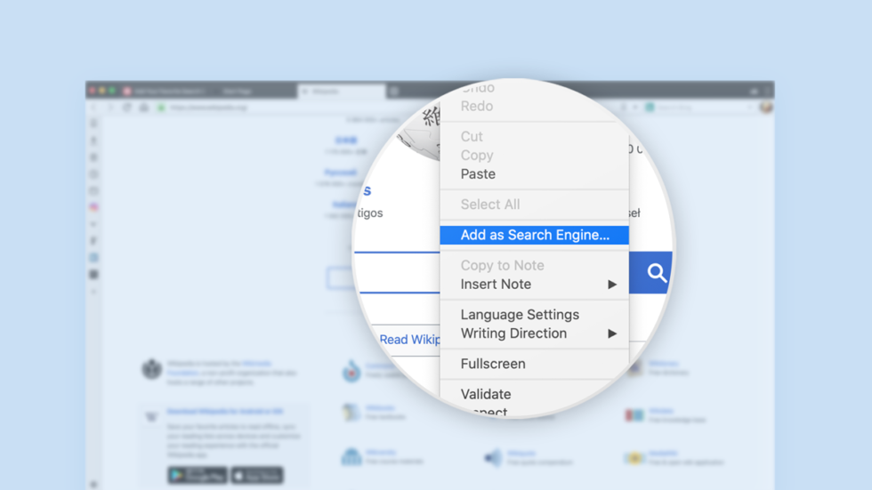 Context menu for adding favorite websites as search engines