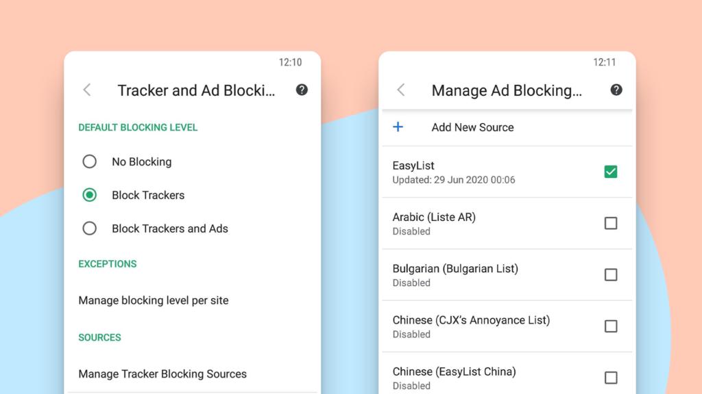 Интерфейс функционала пользовательских списков блокировки рекламы в браузере Vivaldi