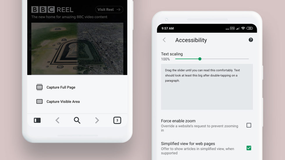 Capture and Reader Mode settings in Vivaldi Beta for Android