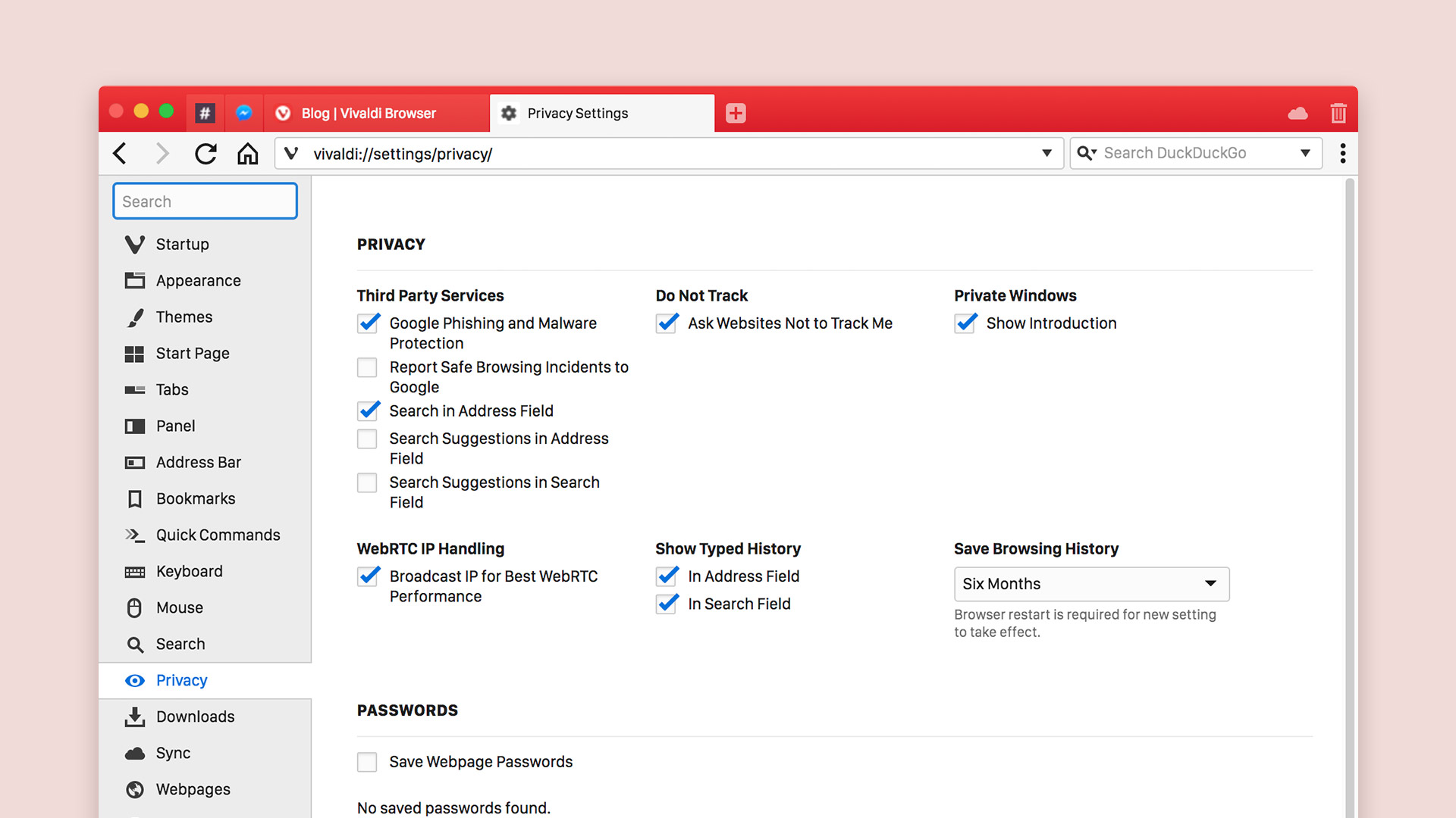 Privacy settings in the Vivaldi browser, including an option to enable or disable Google Phishing and Malware Protection