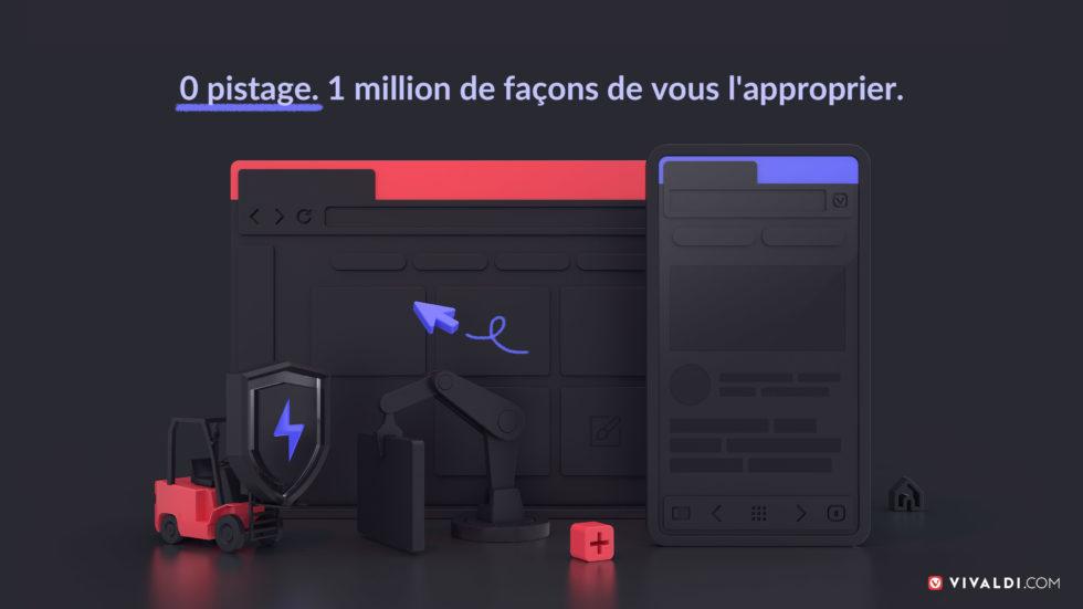 Illustration des versions dark des navigateurs Vivaldi sur ordinateurs et Android